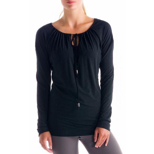 Womens Lole Tulasana Long Sleeve No Zip Technical Tops - Black M