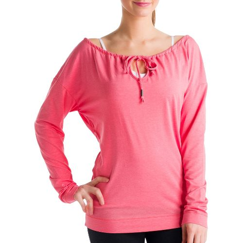 Womens Lole Tulasana Long Sleeve No Zip Technical Tops - Pink Coral S