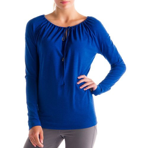 Womens Lole Tulasana Long Sleeve No Zip Technical Tops - True Blue XS