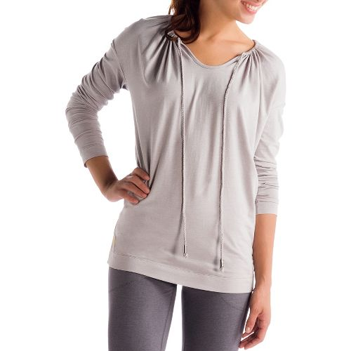 Womens Lole Tulasana Long Sleeve No Zip Technical Tops - Warm Grey S