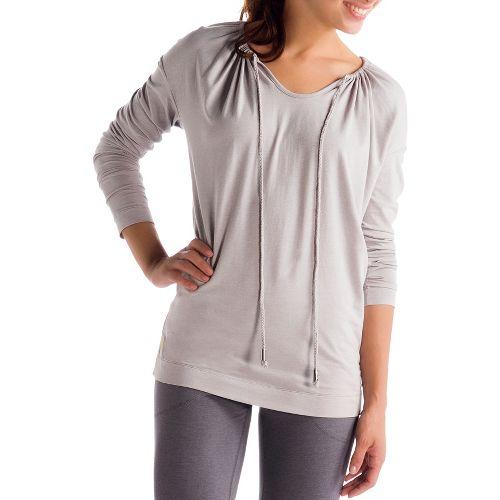 Womens Lole Tulasana Long Sleeve No Zip Technical Tops - Warm Grey XS