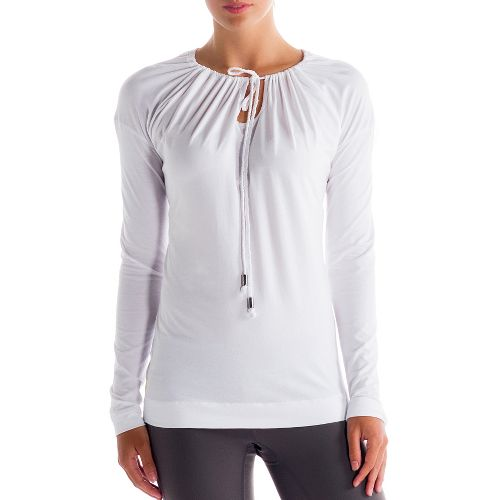 Womens Lole Tulasana Long Sleeve No Zip Technical Tops - White XS