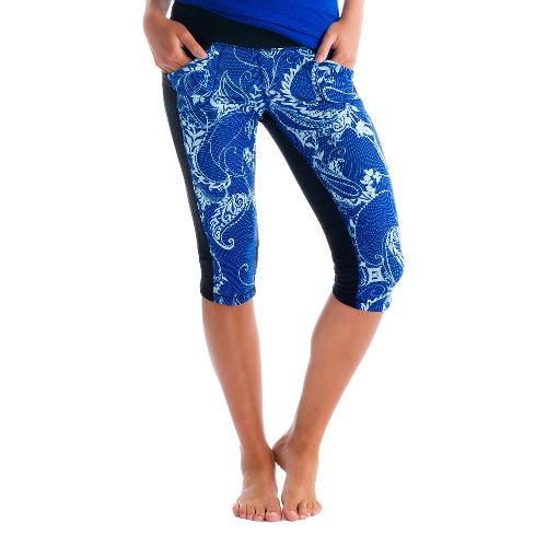 Womens Lole Padma Capri Tights - True Blue/Anatolia XS