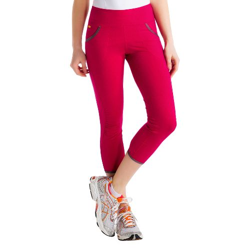Womens Lole Shiva Capri Tights - Red Sea M