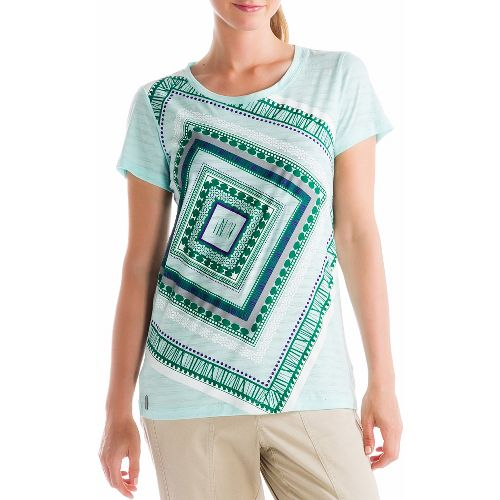 Womens Lole Key Short Sleeve Non-Technical Tops - Aqua S