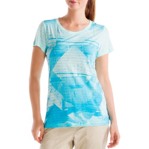 Womens Lole Key Short Sleeve Non-Technical Tops - Clearly Aqua L