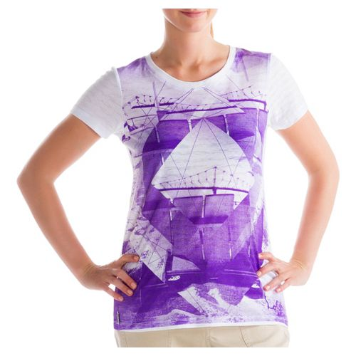 Womens Lole Key Short Sleeve Non-Technical Tops - Pure Purple L