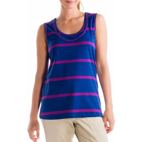 Womens Lole Hug Sleeveless Technical Tops - Solidate Blue/Guava XS