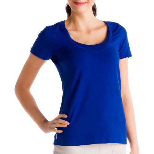 Womens Lole Kiss Short Sleeve Technical Tops - Solidate Blue S