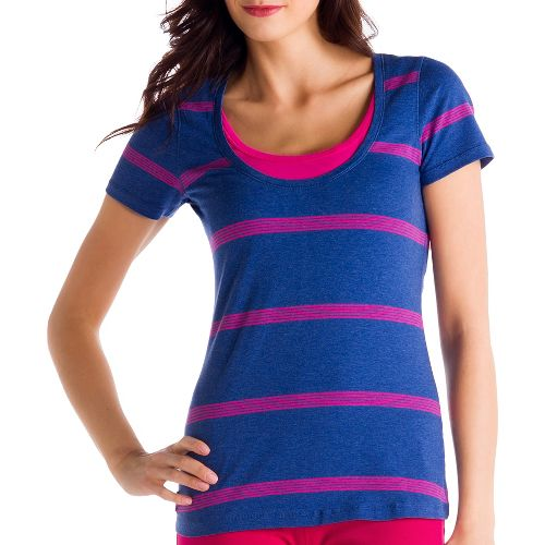 Womens Lole Kiss Short Sleeve Technical Tops - Solidate Blue/Guava L