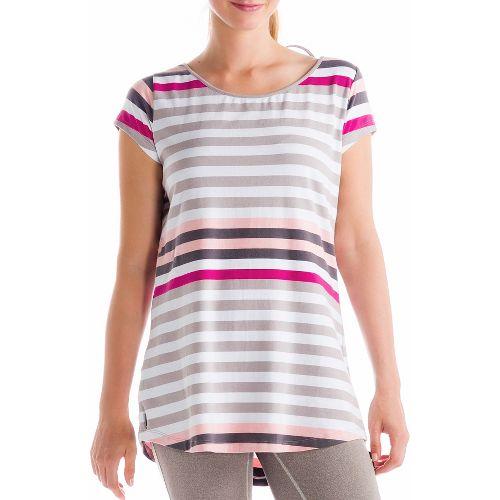Womens Lole Patricia Tunic Short Sleeve Technical Tops - Warm Grey XS