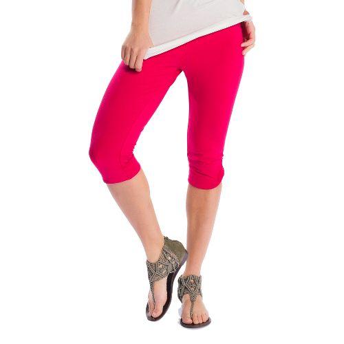 Womens Lole Serene Capri Tights - Red Sea XS