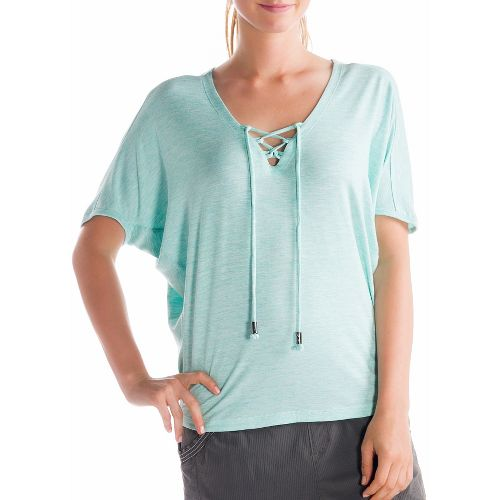 Womens Lole Audrey 2 Short Sleeve Technical Tops - Clearly Aqua XL