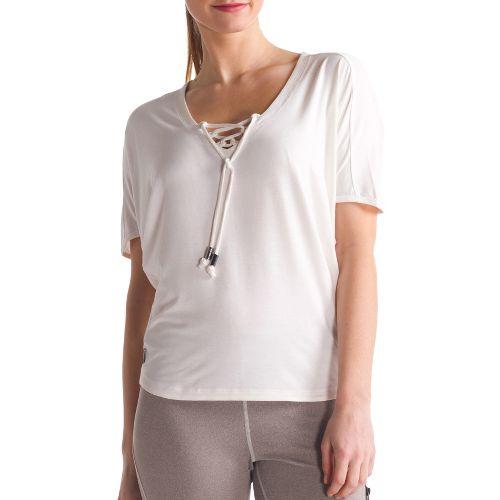 Womens Lole Audrey 2 Short Sleeve Technical Tops - Cloud/Heather S