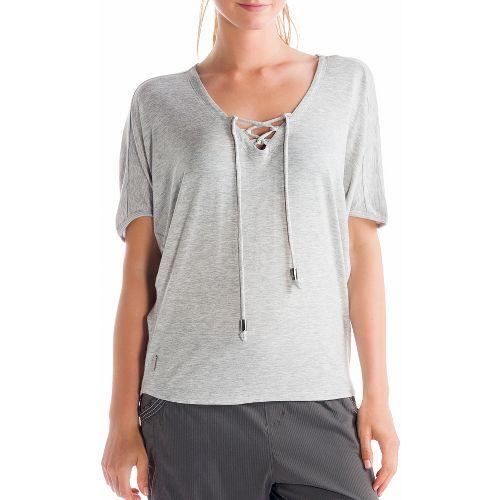 Womens Lole Audrey 2 Short Sleeve Technical Tops - Warm Grey XL