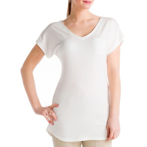 Womens Lole Anais Tunic Short Sleeve Technical Tops - Cloud/Heather S
