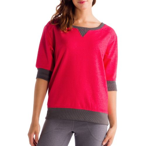 Womens Lole Peaceful Long Sleeve No Zip Technical Tops - Denim/Pomegranate M