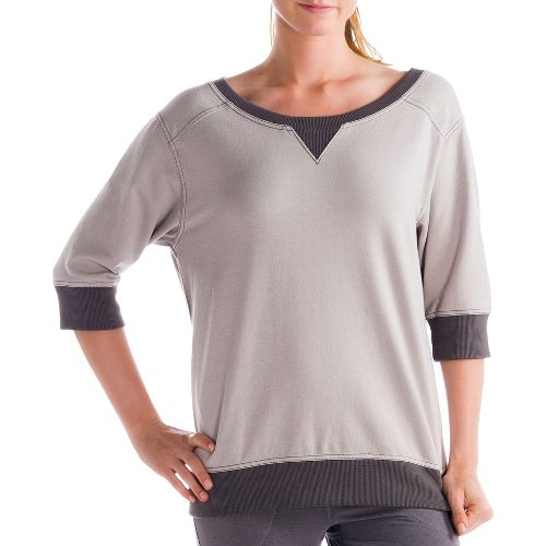 Womens Lole Peaceful Long Sleeve No Zip Technical Tops - Denim/Warm Grey M