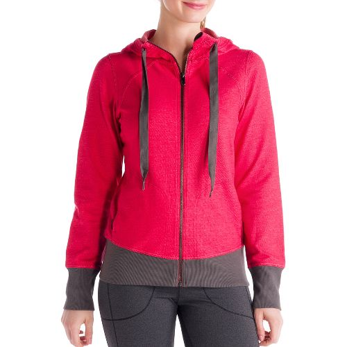 Womens Lole Casual Cardigan Running Jackets - Denim/Pomegranate M