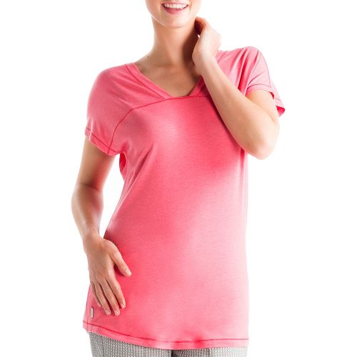 Womens Lole Sacha Short Sleeve Technical Tops - Pink Coral M