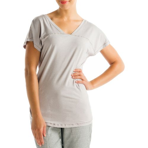 Womens Lole Sacha Short Sleeve Technical Tops - Warm Grey L