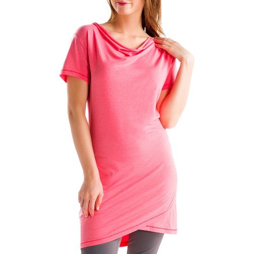 Womens Lole Syrah 2 Tunic Short Sleeve Technical Tops - Pink Coral XS