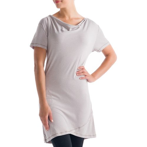 Womens Lole Syrah 2 Tunic Short Sleeve Technical Tops - Warm Grey L