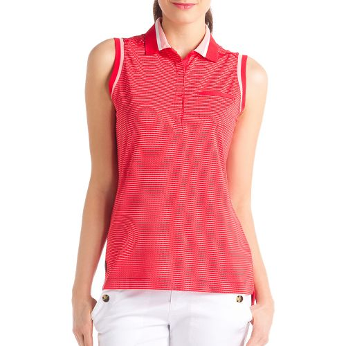 Womens Lole Annika Polo Sleeveless Technical Tops - Pomegranate XS