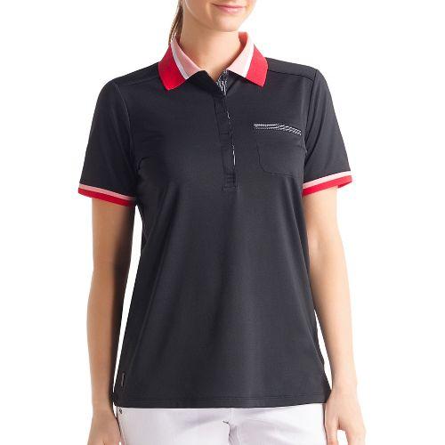 Womens Lole Joyce Polo Short Sleeve Technical Tops - Black S