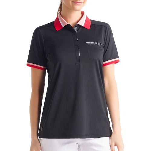 Womens Lole Joyce Polo Short Sleeve Technical Tops - Black XS