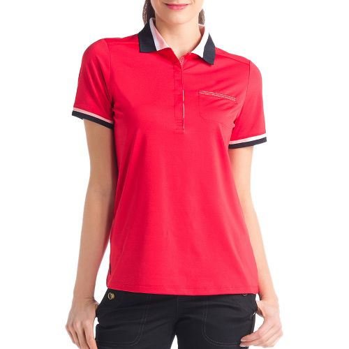 Womens Lole Joyce Polo Short Sleeve Technical Tops - Pomegranate L