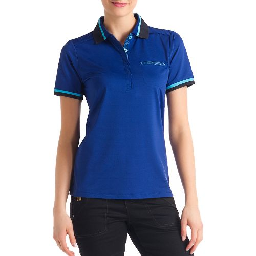 Womens Lole Joyce Polo Short Sleeve Technical Tops - Solidate Blue L