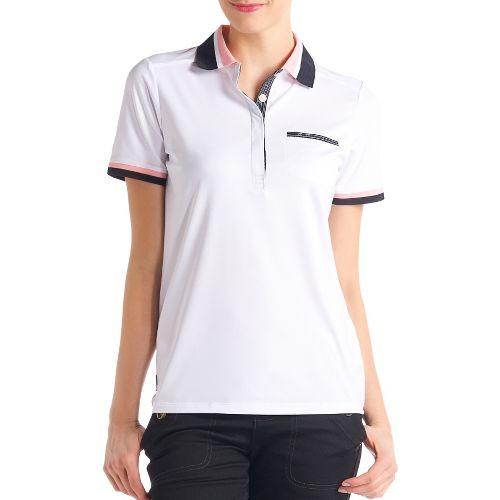 Womens Lole Joyce Polo Short Sleeve Technical Tops - White M