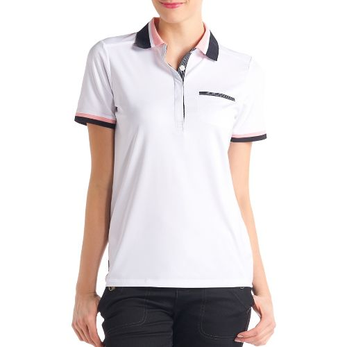 Womens Lole Joyce Polo Short Sleeve Technical Tops - White XL
