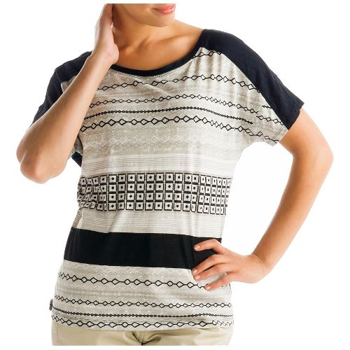 Womens Lole Concord Short Sleeve Non-Technical Tops - Black/Multi Color XL