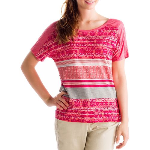 Womens Lole Concord Short Sleeve Non-Technical Tops - Pink Coral XS