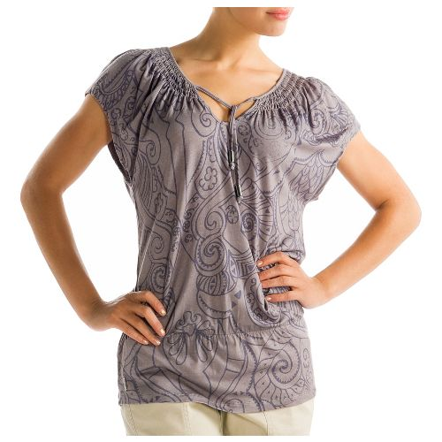 Womens Lole Ibiza Short Sleeve Technical Tops - Drift Wood S