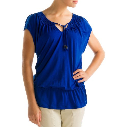 Womens Lole Ibiza Short Sleeve Technical Tops - Solidate Blue S