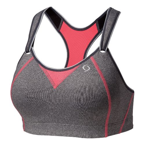 Womens Moving Comfort Rebound Racer Sports Bra - Charcoal Heather/Fiesta 34DD