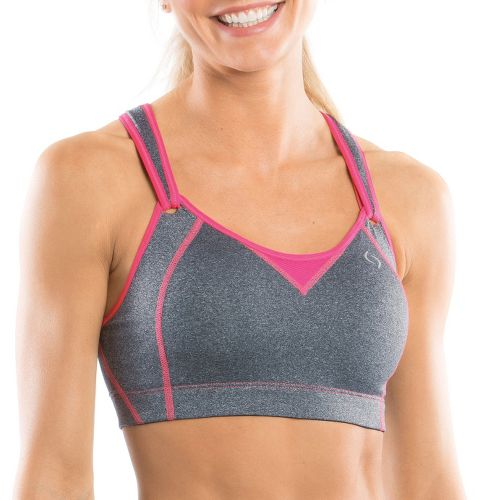 Womens Moving Comfort Rebound Racer Sports Bra - Charcoal Heather/Pink 38C