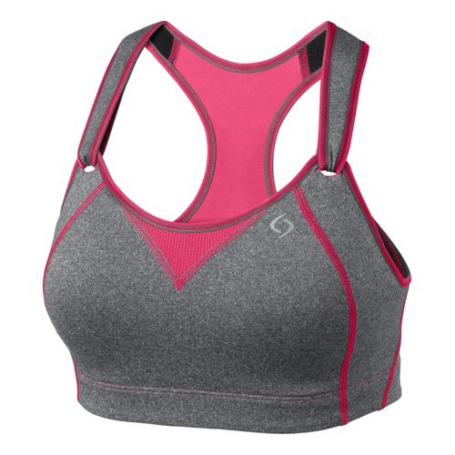 Womens Moving Comfort Rebound Racer Sports Bra - Charcoal Heather/Shimmer 36D