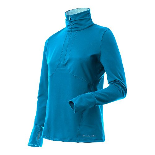 Womens Moving Comfort Mobility 1/2 Zip Long Sleeve Technical Tops - Clear Blue L