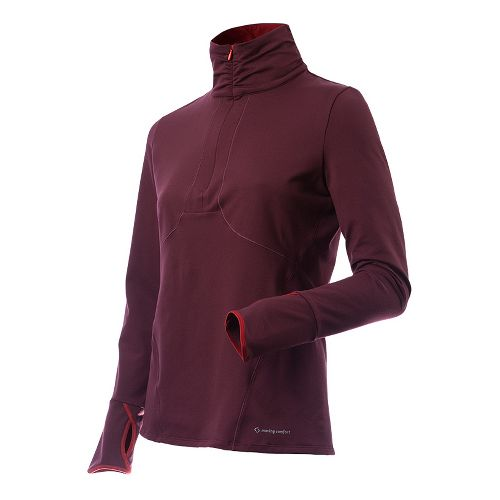 Womens Moving Comfort Mobility 1/2 Zip Long Sleeve Technical Tops - Merlot S