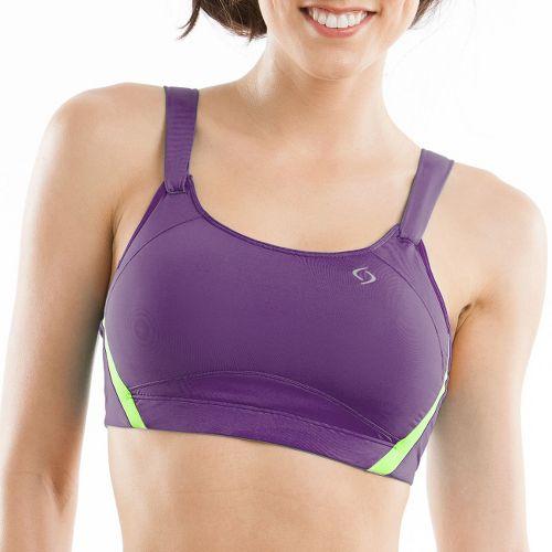 Womens Moving Comfort Jubralee Sports Bra - Dark Purple/Lime 38DD
