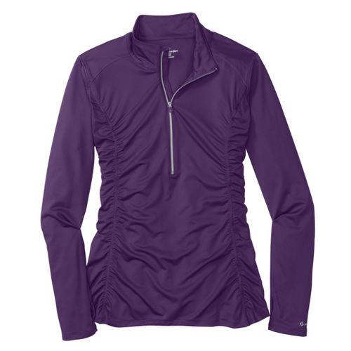 Womens Moving Comfort Sprint Long Sleeve 1/2 Zip Technical Tops - Berry XL