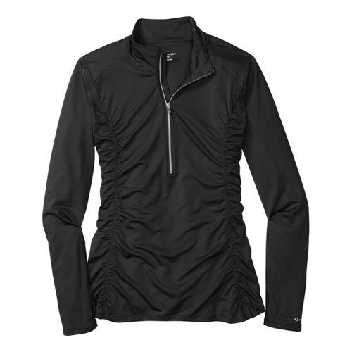 Womens Moving Comfort Sprint Long Sleeve 1/2 Zip Technical Tops - Black 2X