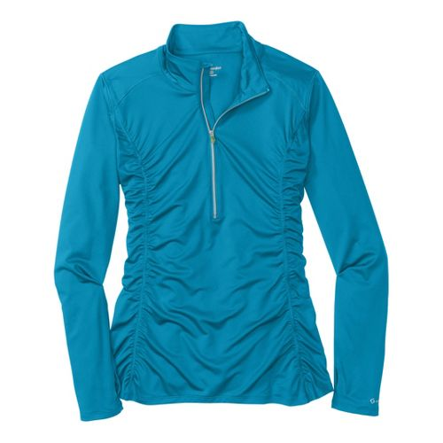 Womens Moving Comfort Sprint Long Sleeve 1/2 Zip Technical Tops - Cool Blue M
