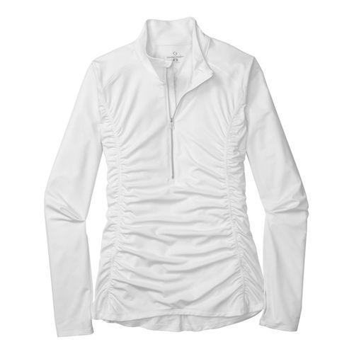 Womens Moving Comfort Sprint Long Sleeve 1/2 Zip Technical Tops - Cream S