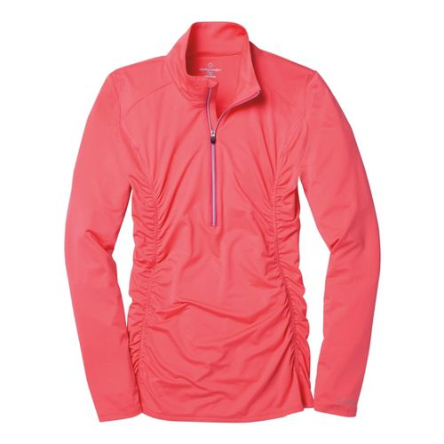 Womens Moving Comfort Sprint Long Sleeve 1/2 Zip Technical Tops - Fiesta S