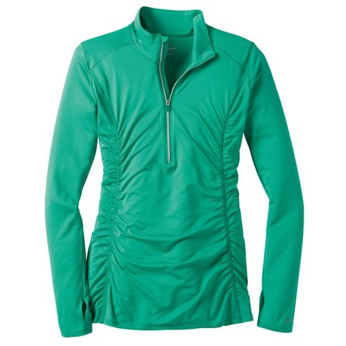 Womens Moving Comfort Sprint Long Sleeve 1/2 Zip Technical Tops - Jade XL